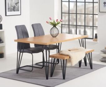 Rafino 160cm Dining Table with Liza Fabric Dining Chairs and Rafino Benches