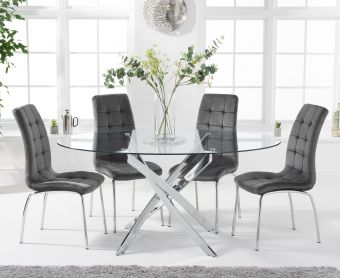 Denver 165cm Oval Glass Dining Table with Calgary Velvet Chairs