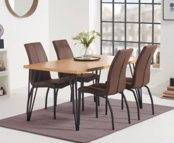 Rafino 160cm Dining Table with Noir Fabric Dining Chairs