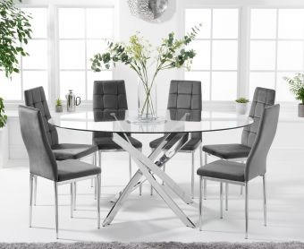 Denver 165cm Oval Glass Dining Table with Melissa Chairs