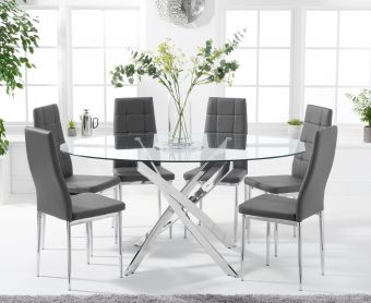 Denver 165cm Oval Glass Dining Table with Cassa Chairs