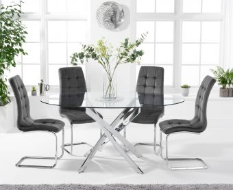 Denver 165cm Oval Glass Dining Table with Lorin Velvet Chairs