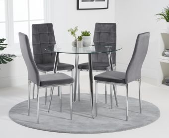 Cassa 90cm Round Dining Table with Melissa Grey Velvet Dining Chairs