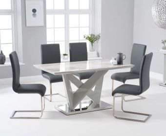 Rami 150cm Light Grey Marble Effect Carrera Dining Table with Malaga Chairs