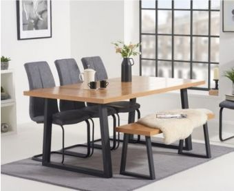 Uma 160cm Dining Table with Liza Fabric Dining Chairs and Uma Benches
