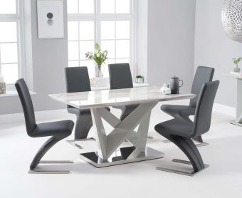 Rami 150cm Light Grey Marble Effect Carrera Dining Table with Hampstead Z Chairs