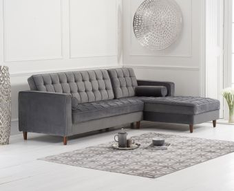 Arena Grey Velvet Right Facing Chaise Sofa