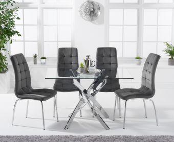 Denver 120cm Rectangular Glass Dining Table with Calgary Velvet Chairs