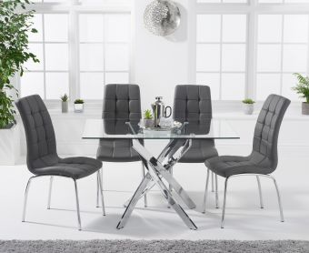 Denver 120cm Rectangular Glass Dining Table with Calgary Chairs
