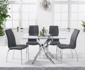 Denver 120cm Rectangular Glass Dining Table with Cavello Chairs