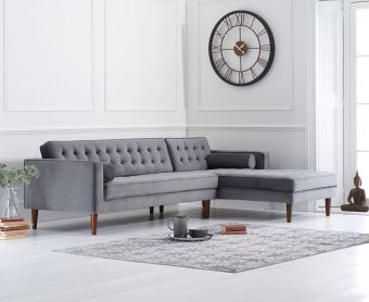 Ilana Grey Velvet Right Facing Chaise Sofa