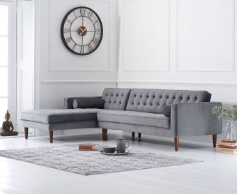 Ilana Grey Velvet Left Facing Chaise Sofa