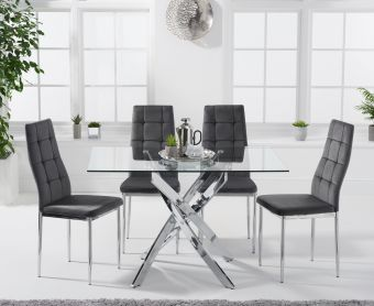 Denver 120cm Rectangular Glass Dining Table with Melissa Chairs