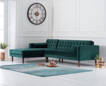 Ilana Green Velvet Left Facing Chaise Sofa