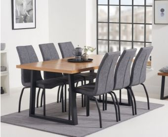 Uma 160cm Dining Table with Noir Fabric Dining Chairs