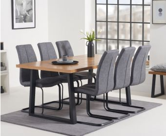 Uma 160cm Dining Table with Liza Fabric Dining Chairs