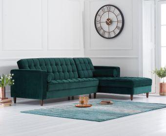 Arena Green Velvet Right Facing Chaise Sofa