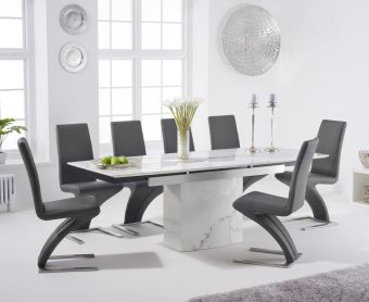 Millicent 160cm Extending White Marble Dining Table with Hampstead Faux Leather Chairs