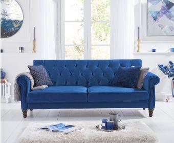 Orlando Blue Velvet Sofa Bed