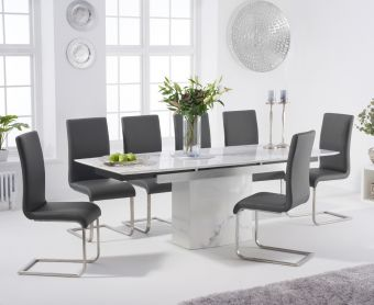 Millicent 160cm Extending White Marble Dining Table with Malaga Faux Leather Chairs
