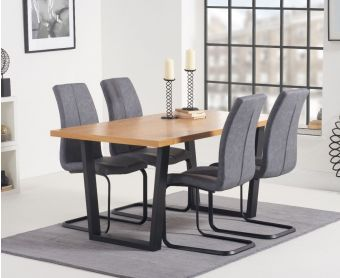 Oland 160cm Dining Table with Liza Fabric Dining Chairs