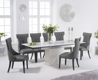 Millicent 160cm Extending White Marble Dining Table with Freya Chairs