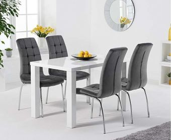 Atlanta 120cm White High Gloss Dining Table with Calgary Velvet Chairs