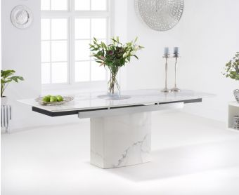 Millicent 160cm White Extending Marble Dining Table