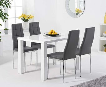 Atlanta 120cm White High Gloss Dining Table with Cassa Chairs