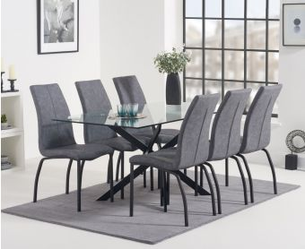 Montigue 160cm Glass Dining Table with Noir Fabric Chairs