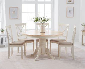 Epsom 120cm Cream Round Pedestal Table with Epsom Chairs with Cream Fabric Seats