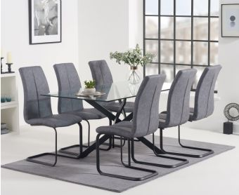 Montigue 160cm Glass Dining Table with Liza Fabric Chairs