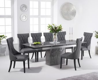 Millicent 160cm Extending Grey Marble Dining Table with Freya Chairs