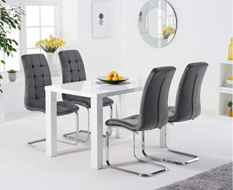 Atlanta 120cm White High Gloss Dining Table with Lorin Velvet Chairs