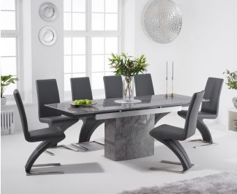 Millicent 160cm Extending Grey Marble Dining Table with Hampstead Faux Leather Chairs