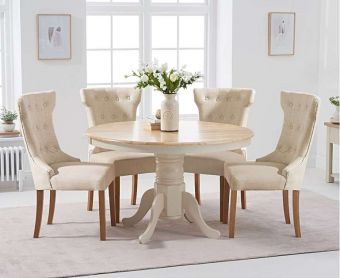 Epsom 120cm Oak and Cream Dining Table with Cora Fabric Chairs