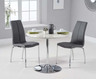 Daisy 90cm White High Gloss Carrera Dining Table with Cavello Chairs