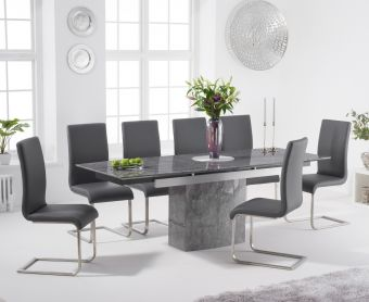 Millicent 160cm Extending Grey Marble Dining Table with Malaga Faux Leather Chairs