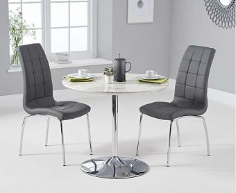 Daisy 90cm White High Gloss Carrera Dining Table with Calgary Chairs