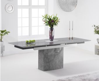 Millicent 160cm Grey Extending Marble Dining Table