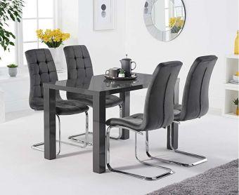 Atlanta 120cm Dark Grey High Gloss Dining Table with Lorin Velvet Chairs