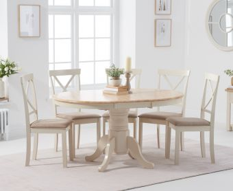 Epsom Cream Pedestal Extending Table with Epsom Chairs with Cream Fabric Seats