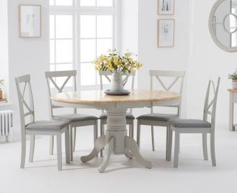 Epsom Oak and Grey Pedestal Extending Dining Set with Fabric Chairs