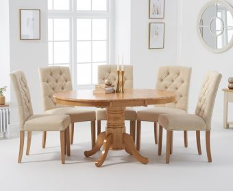 Epsom Oak Pedestal Extending Table with Candice Chairs