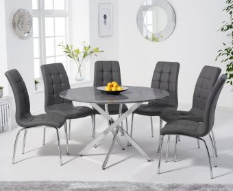 Casie 120cm Round Grey Marble Table with Calgary Chairs