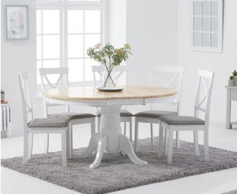 Epsom Oak and White Pedestal Extending Dining Table Set with Fabric Chairs