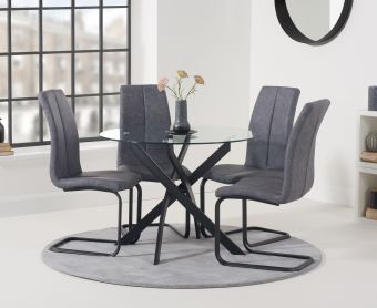 Montigue 100cm Round Glass Dining Table with Liza Fabric Chairs
