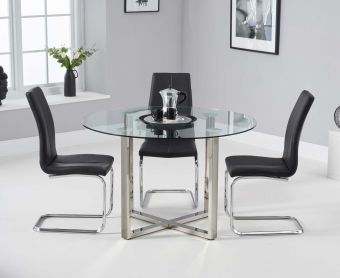 Vidre 120cm Round Glass Dining Table with Tarin Chairs