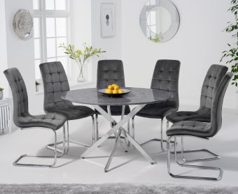 Casie 120cm Round Grey Marble Table with Lorin Chairs