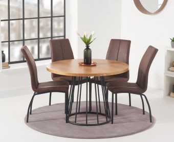 Highbury 110cm Round Dining Table with Noir Fabric Dining Chairs